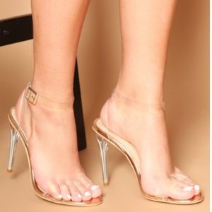 LUXETOKILL Khloe Rose Gold Sandal w/Clear Strap
